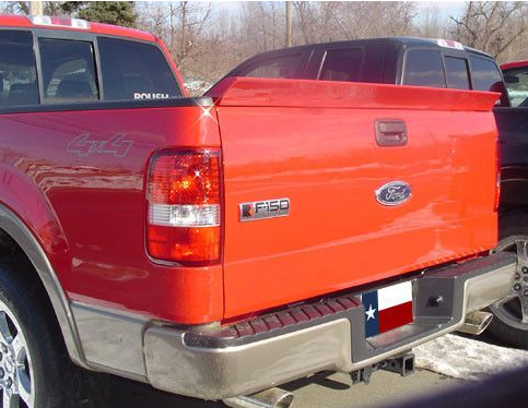 Red truck with spoiler