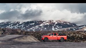 Trucks on a mountain image